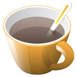 Oranje kop van koffie met lepel Stock Illustratie