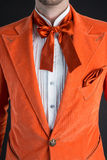 Oranje kostuum oranje vlinderdas Stock Foto