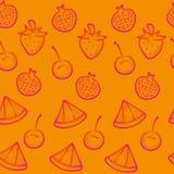 Oranje krabbel naadloze achtergrond met rode vruchten Royalty-vrije Stock Afbeeldingen
