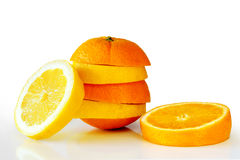 Oranje Lemon. Composition of a pile of juicy orange and lemon slices Royalty Free Stock Image