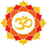 Oranje Lotus Flower Mandala Stock Fotografie