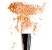 Oranje maak omhoog kleur met borstel, verpletterd maak omhoog kleur Royalty-vrije Stock Afbeelding