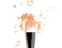 Oranje maak omhoog kleur met borstel, verpletterd maak omhoog kleur Stock Foto's