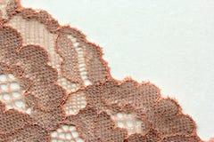 Oranje materieel de textuur macroschot van het bloemenkant Royalty-vrije Stock Afbeelding