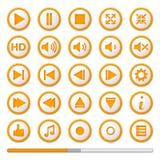 Oranje Media Player-Knopen Stock Foto's