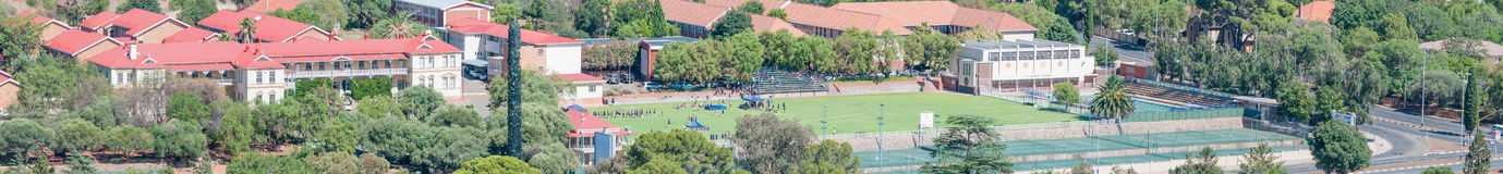 Oranje Meisieskool as seen from Naval Hill. BLOEMFONTEIN, SOUTH AFRICA, JANUARY 14, 2016: Panorama of the Oranje Meisieskool (girls school) as seen from Naval Royalty Free Stock Image