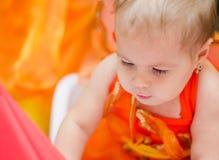 Oranje meisje Stock Foto's