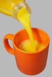 Oranje mok en fles Royalty-vrije Stock Foto's