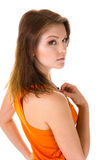 Oranje mouwloos onderhemd Stock Foto