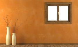 Oranje muur met venster Stock Afbeeldingen