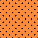 Oranje naadloos patroon met zwarte stippen royalty-vrije illustratie