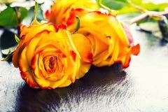 Oranje nam toe Geel nam toe Verscheidene oranje rozen op Granietachtergrond Stock Foto's