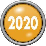 Oranje ontwerpjaar 2020 in ronde 3D knoop Stock Foto's
