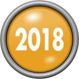 Oranje ontwerpjaar 2018 in ronde 3D knoop Stock Foto's