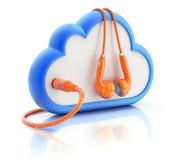 Oranje oortelefoons met het wolkenpictogram Stock Fotografie