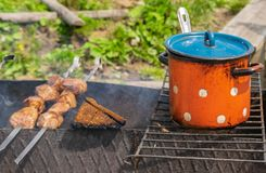 Oranje pan met blauw royalty-vrije stock foto's