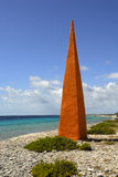 Oranje Pan Obelisk. A color coded obelisk stands on the shore at Oranje Pan on Bonaire Stock Images