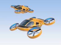 Oranje Passagiershommel Taxis die in de hemel vliegen vector illustratie
