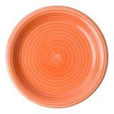 Oranje plaat (die, met het knippen van weg wordt geïsoleerd) Stock Foto's