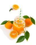 Oranje plakken en sap Stock Afbeeldingen