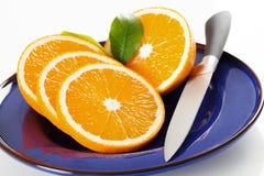 Oranje plakken op een plaat royalty-vrije stock foto's