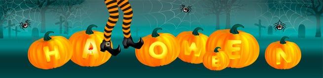 Oranje pompoenen met verlichtingstekst, heksenbenen met gestreepte kousen op donkergroene achtergrond met spinneweb en leuke spin vector illustratie