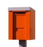 Oranje postbus brievenbus geïsoleerdo over de witte achtergrond Royalty-vrije Stock Fotografie