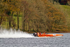 Oranje Powerboat Stock Foto