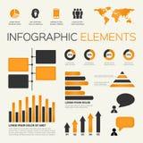 Oranje reeks infographic elementen Royalty-vrije Stock Foto's