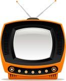 Oranje retro TV Stock Fotografie
