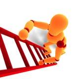 Oranje/rode mannequin die een ladder beklimmen Royalty-vrije Stock Afbeelding
