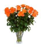 Oranje rozen in vaas Royalty-vrije Stock Foto's
