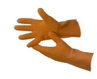 Oranje rubbervissershandschoenen Stock Foto