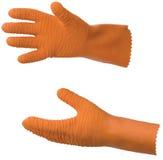 Oranje rubbervissershandschoenen Royalty-vrije Stock Afbeeldingen