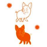 Oranje schets van een biggetje, beeldverhaal op een witte achtergrond royalty-vrije illustratie