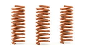 Oranje spiraalvormig teruggegeven koord drie Royalty-vrije Stock Afbeelding