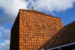 Oranje tegelsdak en blauwe hemel royalty-vrije stock foto's