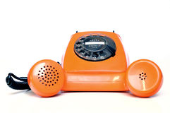 Oranje telefoon stock foto's