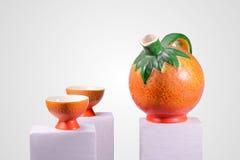 Oranje Theestel Royalty-vrije Stock Afbeeldingen