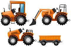Oranje tractor en bulldozer vector illustratie