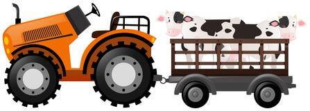 Oranje tractor met twee koeien op wagen stock illustratie