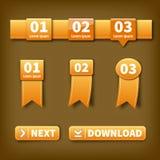 Oranje vectoretiketten Royalty-vrije Stock Afbeeldingen