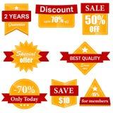 Oranje verkoopetiketten en stickers Stock Afbeeldingen