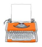 Oranje vintageTypewriters en document het leuke kunst schilderen Royalty-vrije Stock Afbeelding