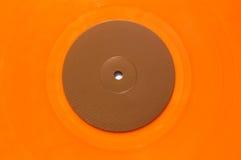 Oranje vinylmuziekverslag Stock Foto