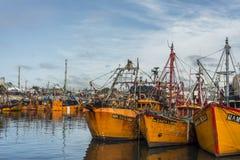 Oranje vissersboten in Mar del Plata, Argentinië Royalty-vrije Stock Foto's