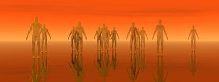 Oranje Vlakke Mensen Stock Foto