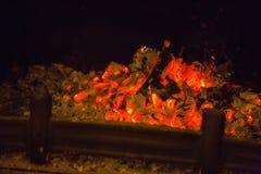 Oranje vlammen in as in open haard Royalty-vrije Stock Foto