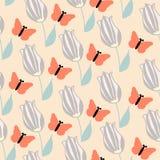 Oranje vlinder en roombloemen, naadloos patroon stock illustratie