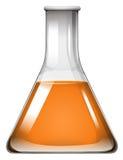 Oranje vloeistof in glasbeker stock illustratie